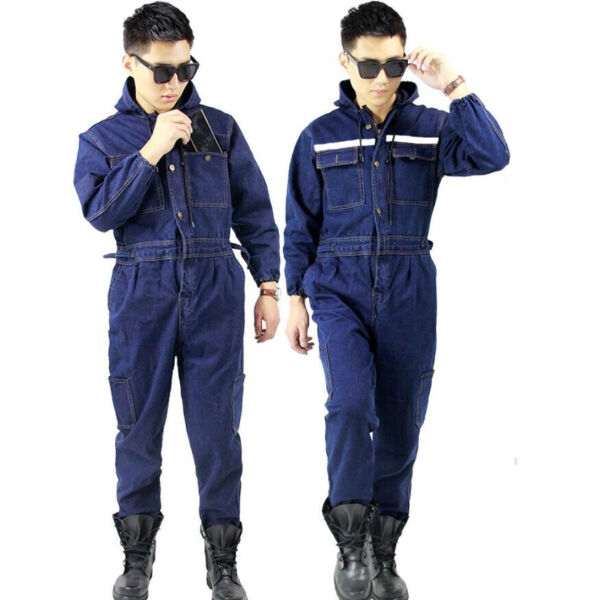 Mens Denim Boiler Suit Coveralls Overalls Jeans Welder Work Wears Mechanics Suit $68.59