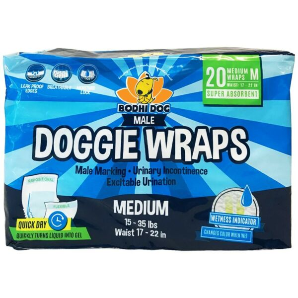 Disposable Dog Male Wraps 20 Premium Quality Adjustable Pet Diapers with Mo... $18.99