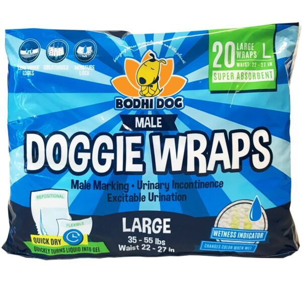 Disposable Dog Male Wraps 20 Premium Quality Adjustable Pet Diapers with Mo... $19.99