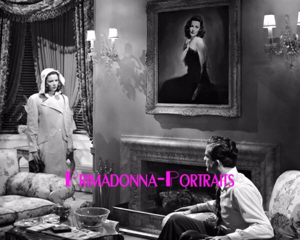 GENE TIERNEY 8X10 Bamp;W Photo 1944 quot;LAURAquot; With Self Painting amp; Fireplace Portrait