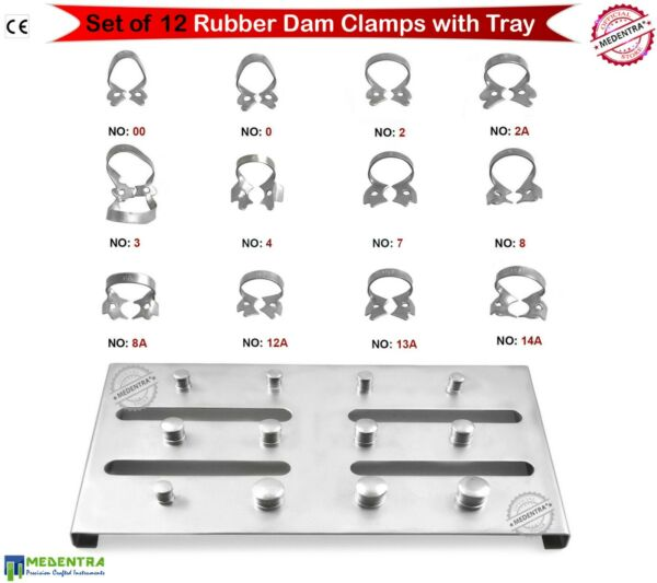 12Pcs Assorted Rubber Dam Clamp Set with Steel Holding Tray Holder for 12 Clamps