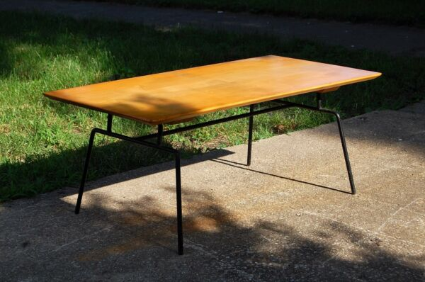 Paul Mccobb Iron Base Maple Top Coffee Table Mid Century Modern Vintage