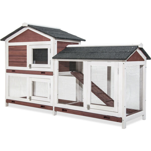Pet Rabbit Hutch Weather-proof Wood House Chicken Coop Animal Poultry Cottage US