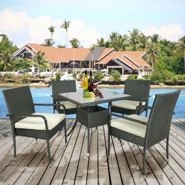 5PC Cushioned Outdoor Patio Table Chairs Set Garden Rattan Sofa Set Furniture US $245.99