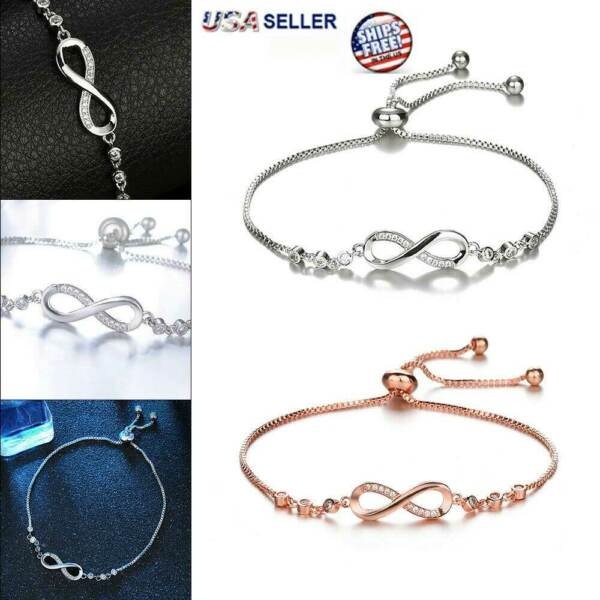 Infinity BRACELET Love Charm Stainless Adjustable Chain Womens Crystal Jewelry  $3.99
