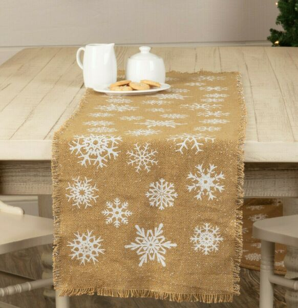 Burlap SNOWFLAKE TAN Table Runner 13quot; x 36quot; Winter Primitive Farmhouse Rustic
