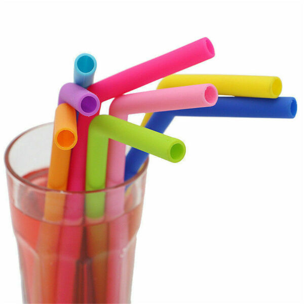 Multicolored Food Grade Silicone Tips Home Coffee Drinking Reusable Straws Party