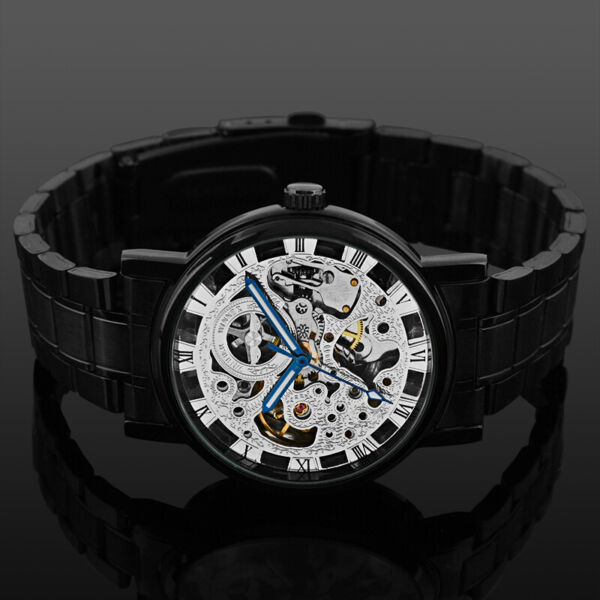 Mens Watch Automatic Mechanical Black Stainless Steel Band Analog Display Luxury
