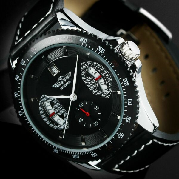 Mens Watch Automatic Mechanical Black Dial Stainless Steel Case Skeleton Luxury $22.70