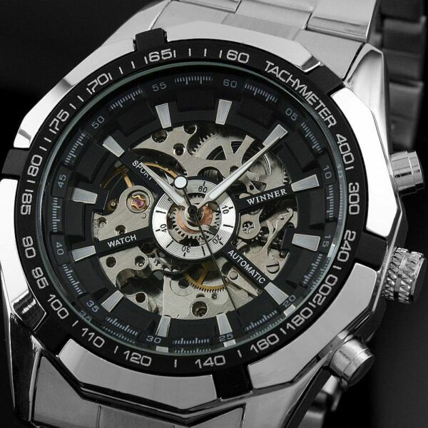 Mens Watch Automatic Silver Stainless Steel Case Self winding Date Analog Luxury $24.30