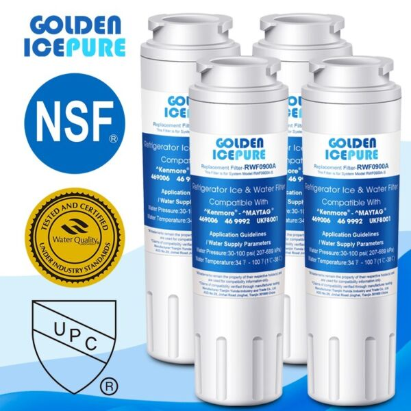 4 PACK IcePure UKF8001 RFC0900A UKF8001P 4396395 Comparable Water Filter