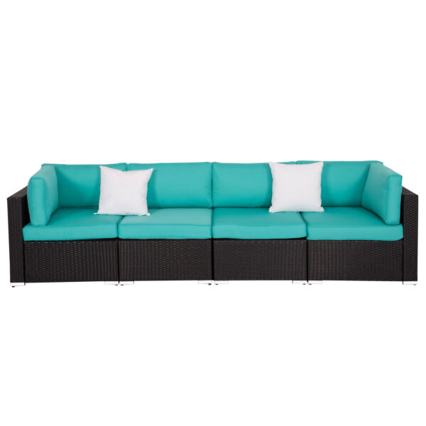4 PC Rattan Wicker Sofa Set Sectional Outdoor Patio Cushioned Tiffany Blue $375.99