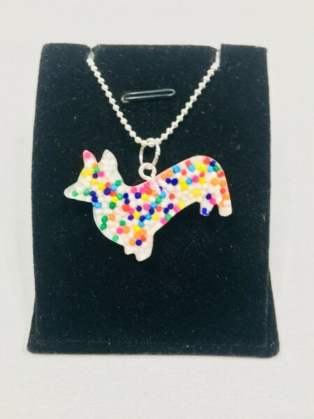 Kawaii Corgi DOG Rainbow SPRINKLES Pendant Charm Necklace Cute Sugar $9.95