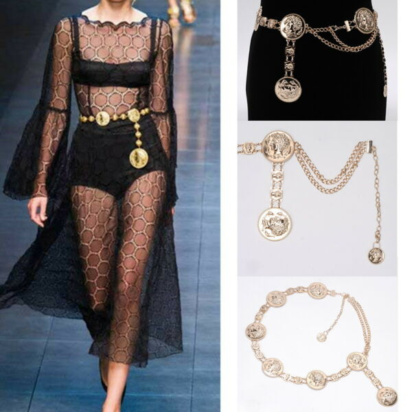 Vintage Waistband Metal Waist Chain Vogue Belt Wide Gold Coins Tassel Band Woman