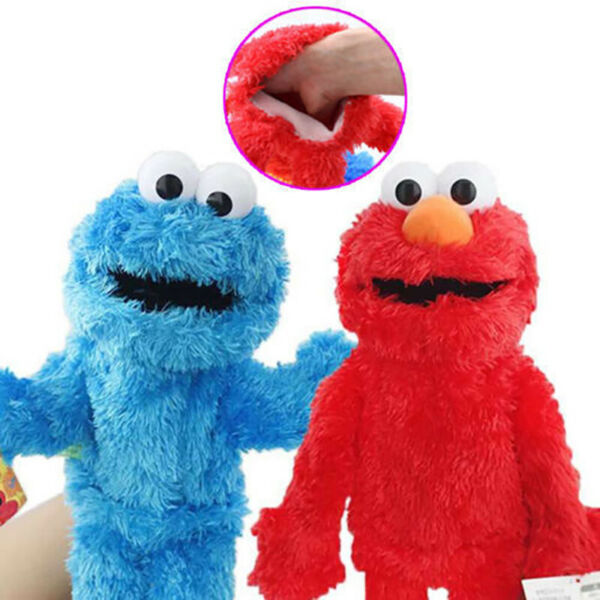2Pcs Sesame Street Hand Puppet Plush Stuffed Dolls Elmo Cookie Monster Toy Gift