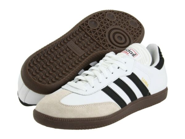 Adidas Samba Classic Mens White Leather Low Top Lace Up Sneakers Ships Free!