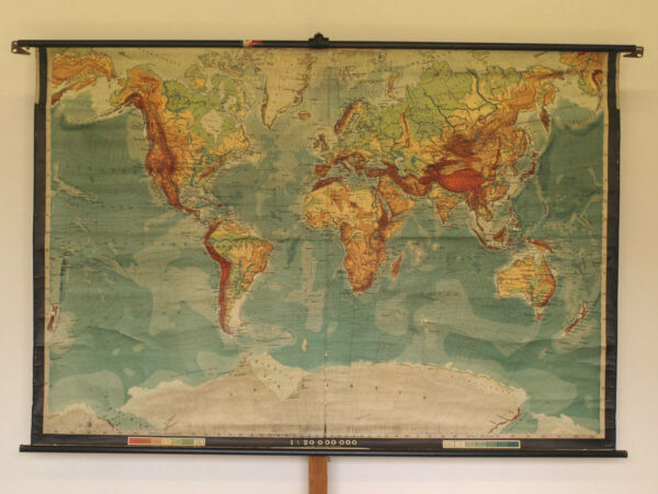 Wall Map Physical World Map Earth Germany~1920 Produced 212x144 Vintage