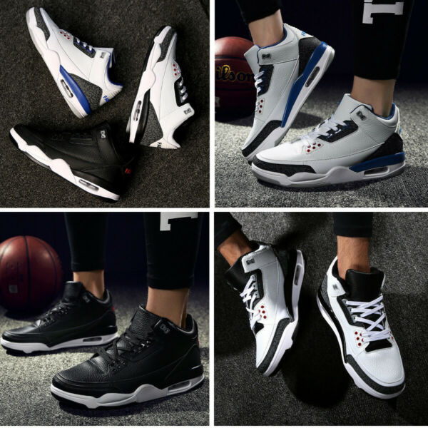 Men Basketball Shoes High Top Hook Loop Running Sport Sneakers Shock