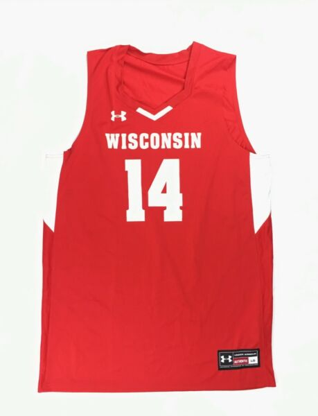 New Under Armour Wisconsin Badgers Fury Basketball Jersey #14 Men's Large Red