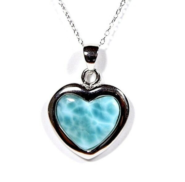 Real AAA Heart Dominican Larimar 925 Sterling Silver 18