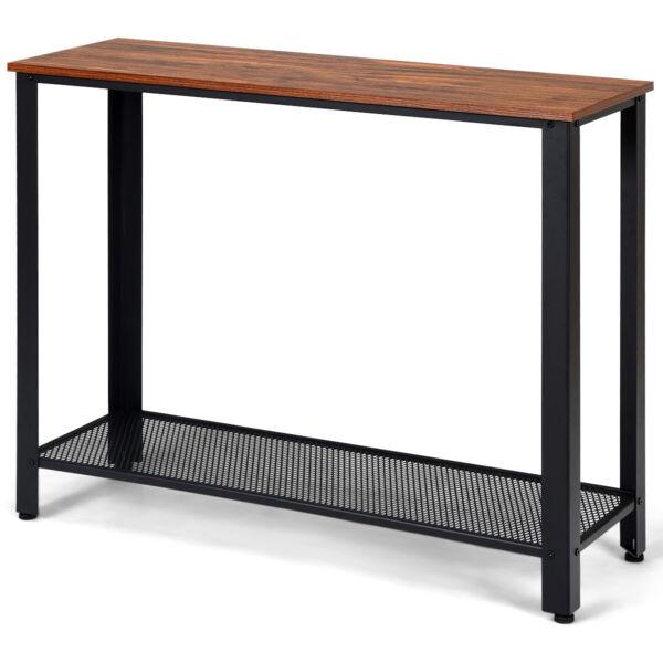 Console Sofa Table W Storage Shelf Metal Frame Wood Look Entryway Table Black