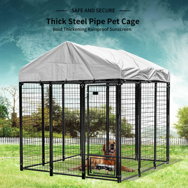 48quot; 72quot; 96quot;Large Dog Cage Crate Outdoor Kennel House Heavy Duty Metal with Cover $285.00