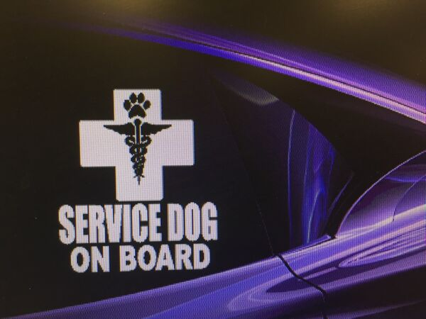 Two SERVICE DOG ON BOARDquot; Dog Vinyl Decal Sticker Aid Dog Disability 5.5quot; x 6quot; $6.99