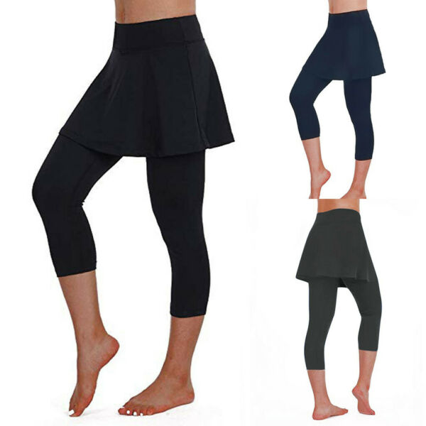 Women's Casual Skirt Leggings Tennis Pants Sports Fitness Cropped Culottes USA