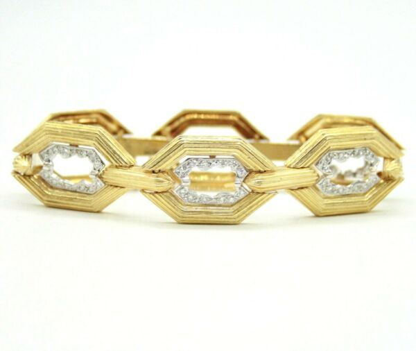 VINTAGE 18K YELLOW GOLD DIAMOND LINK BRACELET WITH SAFETY CHAIN. 7.5