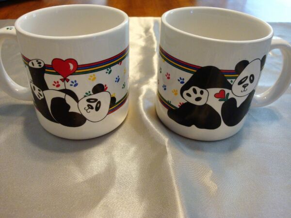 *RARE*1985 Vintage Pair of Panda Coffee Cup MUG Made in Korea by Tin Box Company