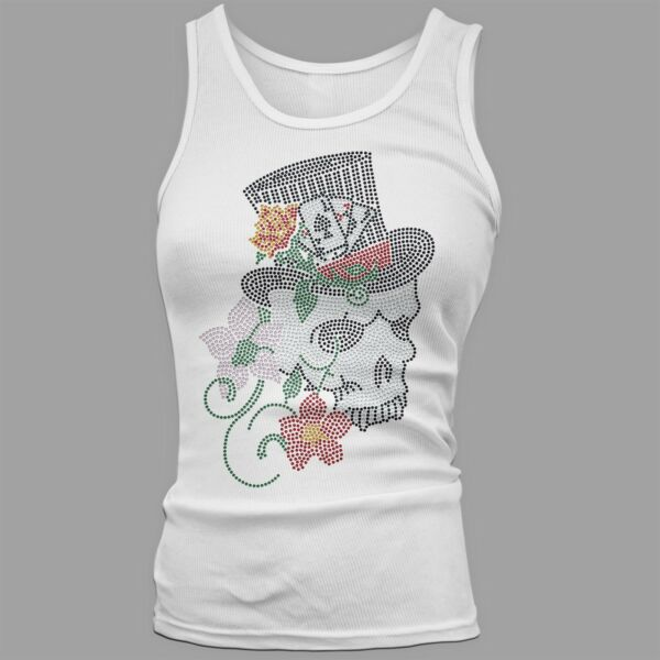 Twisted Envy Women#x27;s Death Bloom Skull Rhinestone Tank Top
