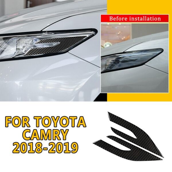 For Toyota Camry 2018-2019 2x Carbon Fiber Front Headlight Eye Edge Cover Trim