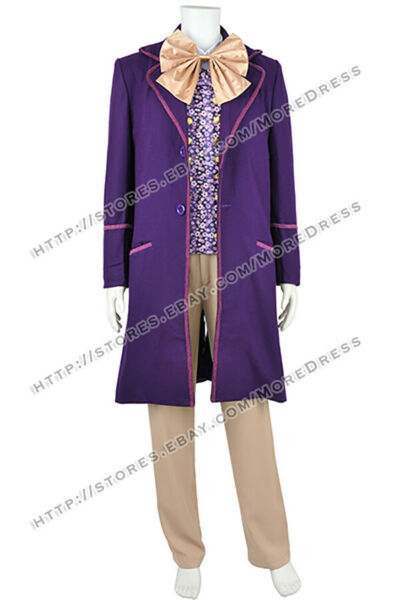 Charlie And The Chocolate Factory Cosplay Willy Wonka Costume Full Set Halloween