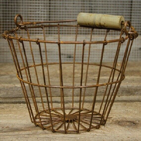 RUSTY WIRE GATHERING BASKET Farmhouse Bucket Primitive French Country Rustic $12.90