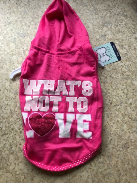 DESIGN LAB. Pink Hoodie quot;WHAT#x27;S NOT TO LOVEquot; Puppy Dog XS $16.50