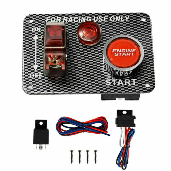 Ignition Switch Panel DC 12V LED Toggle Engine Start Push Button For Racing Car