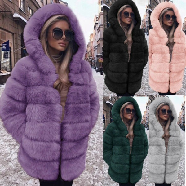 Plus Size Womens Fashion Luxury Faux Fur Coat Hooded Autumn Winter Warm Overcoat