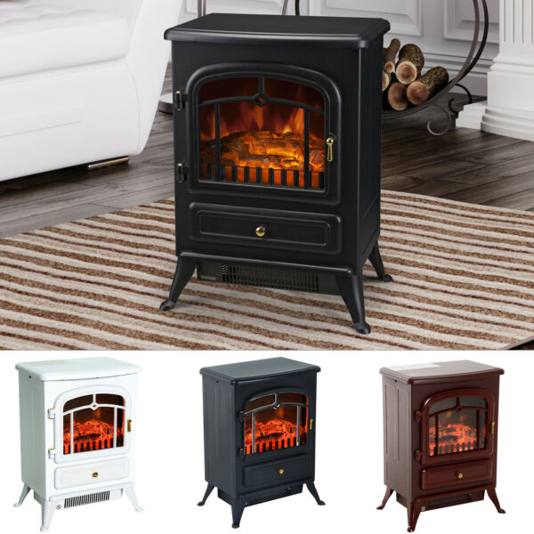 HOMCOM 750 1500W Portable Electric Fireplace Stove Heater Adjustable LED Flames