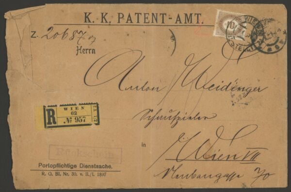 Austria Postage Due Stamp Scott #J7 on Awesome 1907 Registered Cover