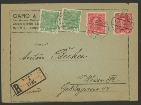 Austria Stamps Scott #113 (x2) & #150 (x2) on Wien Registered 1916 Cover