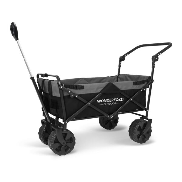 Pull & Push Collapsible Utility Folding Wagon with All Terrain Wide Beach Tire