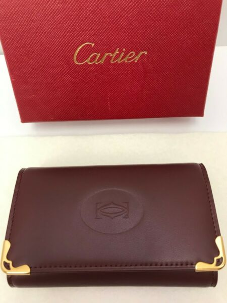 Maison Cartier Luxury Small Burgundy Leather 6 Key Key Ring NWT $169.00
