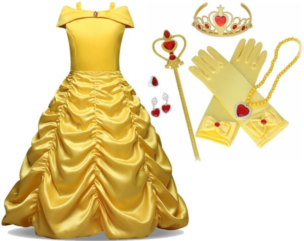 Beauty and Beast Kid's Yellow Princess Belle Costume Halloween Party Girl Dress