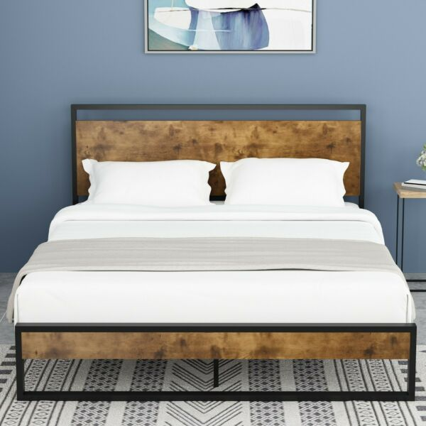 QUEEN FULL Size Platform Metal Bed Frame With Wood Headboard & Footboard Brown