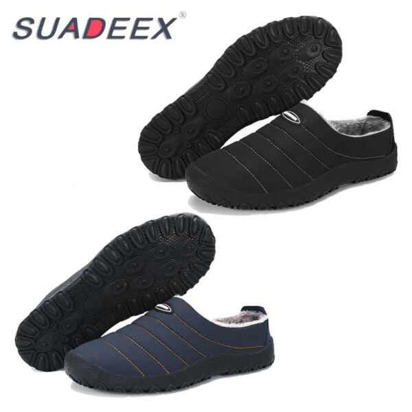 Mens Winter Indoor Plush Lining Fur Slippers Outdoor Warm Cozy House Shoes