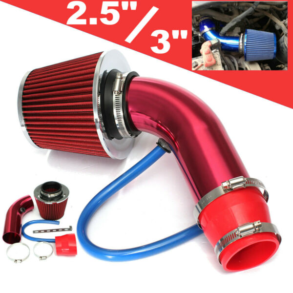 Universal Car Cold Air Intake Filter Red Alumimum Induction Pipe Hose System US