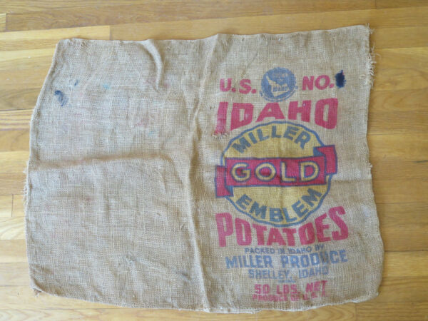 Vintage Idaho Potatoes Burlap Bag Sack