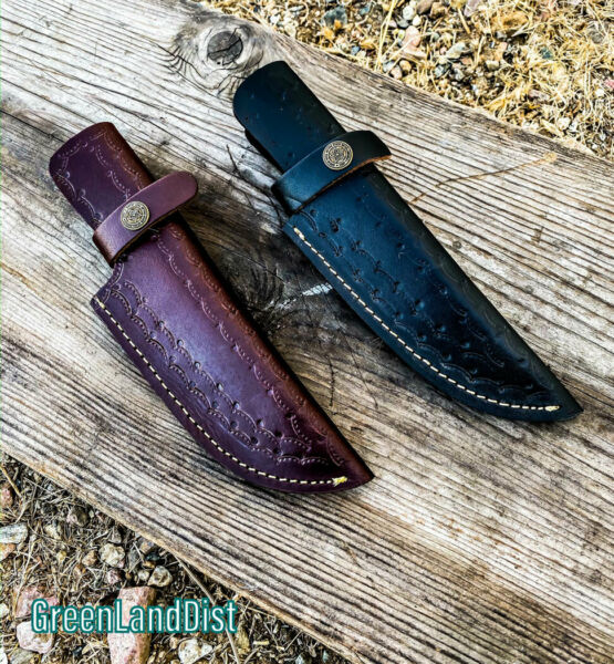 Handmade Real Leather Sheath For Fixed Hunting Blade Knife Engraved Belt Loop
