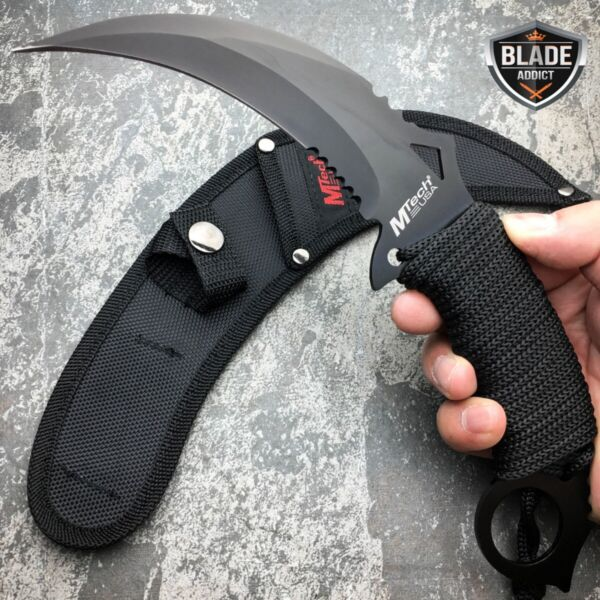 M TECH TACTICAL KARAMBIT KNIFE SURVIVAL HUNTING BOWIE Fixed Blade w SHEATH NEW