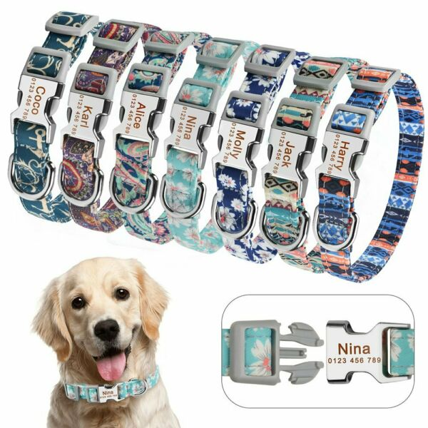 Personalized DOG Collar Floral Nylon Puppy Name Free Engraved Buckle Collars S M $7.15